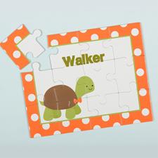 Puzzle pour enfants personnalisé tortue à pois