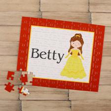 Puzzle pour enfants personnalisé petite princesse, cheveux bruns