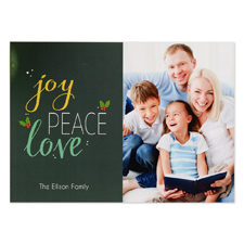 Carte de Noël photo personnalisée joie paix amour