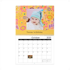 Petit calendrier mural personnalisé 21,59 x 27,94 cm plaisir de la saison