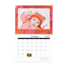 Petit calendrier mural personnalisé 21,59 x 27,94 cm paillettes