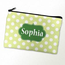 Green Polka Dot Personalized Cosmetic Bag