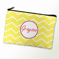 Lime Chevron Purple Frame Personalized Cosmetic Bag