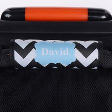 Enveloppe de poignée de valise personnalisée turquoise chevron noir