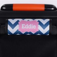 Enveloppe de poignée de valise personnalisée rose chevron bleu marine