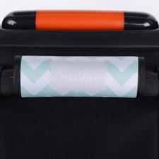 Enveloppe de poignée de valise personnalisée grise chevron menthe