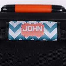 Enveloppe de poignée de valise personnalisée corail chevron paon