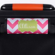 Enveloppe de poignée de valise personnalisée lime chevron rose vif