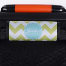 Enveloppe de poignée de valise personnalisée turquoise chevron lime