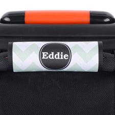 Enveloppe de poignée de valise personnalisée noire chevron turquoise