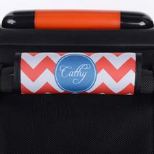 Enveloppe de poignée de valise personnalisée bleue chevron rouge