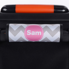 Enveloppe de poignée de valise personnalisée rose chevron gris
