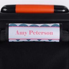 Enveloppe de poignée de valise personnalisée rose chevron paon