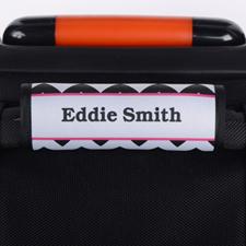 Enveloppe de poignée de valise personnalisée fuchsia chevron noir
