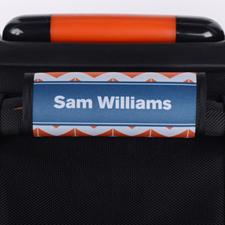 Enveloppe de poignée de valise personnalisée bleu marine chevron rayé orange