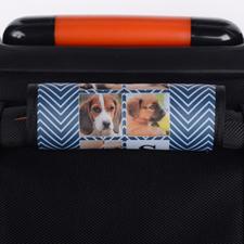 Enveloppe de poignée de valise personnalisée collage chevron bleu marine
