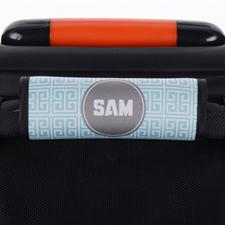 Enveloppe de poignée de valise personnalisée grecque turquoise gris