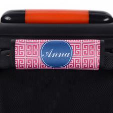 Enveloppe de poignée de valise personnalisée grecque rose bleu marine