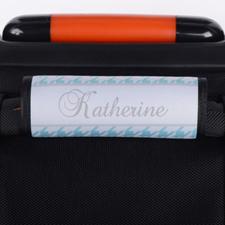 Enveloppe de poignée de valise personnalisée pied-de-poule turquoise
