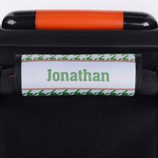 Enveloppe de poignée de valise personnalisée pied-de-poule vert