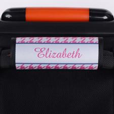 Enveloppe de poignée de valise personnalisée pied-de-poule rose
