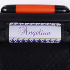 Enveloppe de poignée de valise personnalisée pied-de-poule violet