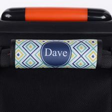 Enveloppe de poignée de valise personnalisée ikat bleu marine paon