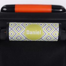 Enveloppe de poignée de valise personnalisée ikat lime gris