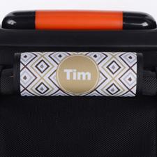 Enveloppe de poignée de valise personnalisée ikat brun gris