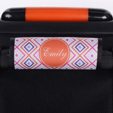 Enveloppe de poignée de valise personnalisée ikat rose orange