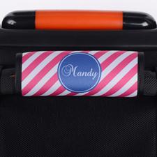 Enveloppe de poignée de valise personnalisée rayure rose