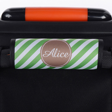 Enveloppe de poignée de valise personnalisée rayure verte