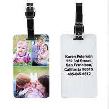 Étiquette de bagage trois collage avec contact personnalisé