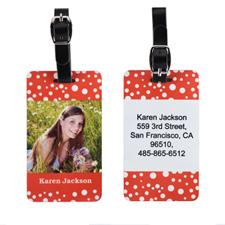 Étiquette de bagage photo personnalisée pois rouge