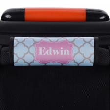 Enveloppe de poignée de valise personnalisée trèfle turquoise gris