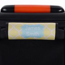 Enveloppe de poignée de valise personnalisée bleue quadrilobe jaune