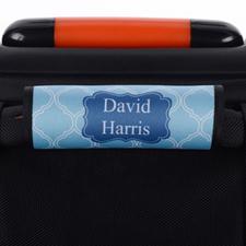 Enveloppe de poignée de valise personnalisée bleu marine quadrilobe bleu