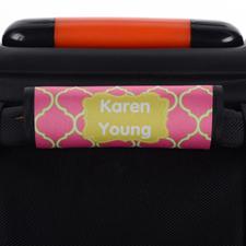 Enveloppe de poignée de valise personnalisée quadrilobe rose lime