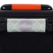 Enveloppe de poignée de valise personnalisée grise quadrilobe menthe