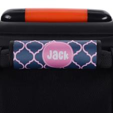 Enveloppe de poignée de valise personnalisée quadrilobe bleu marine rose