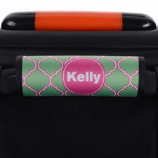 Enveloppe de poignée de valise personnalisée rose quadrilobe paon