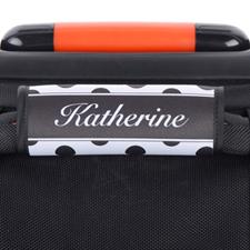 Enveloppe de poignée de valise personnalisée pois noir et blanc