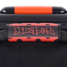 Enveloppe de poignée de valise personnalisée pois noir et rouge
