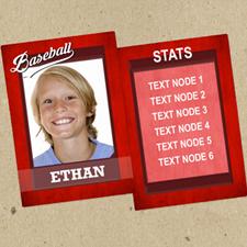 Ensemble de 12 cartes de collection photo rouges personnalisées baseball