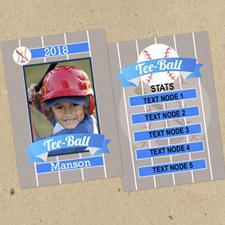 Ensemble de 12 cartes de collection photo personnalisées t-ball