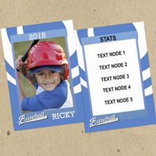 Ensemble de 12 cartes de collection photo personnalisées bleues tourbillon baseball