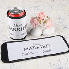 Enveloppe de cannette et de bouteille personnalisée jeunes mariés blanc
