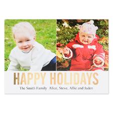 Carte photo plate personnalisée collage deux photos feuille d'or Joyeuses Fêtes, 12,7 x 17,78 cm