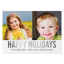 Carte plate personnalisée joyeuses fêtes feuille argentée collage deux photos, 12,7 x 17,78 cm