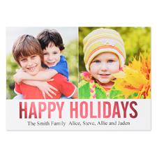 Carte plate personnalisée feuille rouge collage deux photos joyeuses fêtes, 12,7 x 17,78 cm